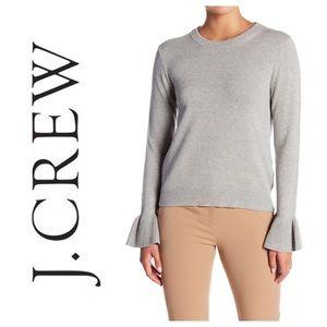 J. Crew Grey Ruffle Cuff Sweater M